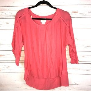 Anthropologie Maeve Button Up Sleeve Blouse Top XS